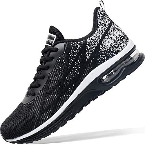 Mens Air Athletic Running Tennis Shoes Lightweight Sport Gym Jogging Walking Sneakers(Blackwhite US 10.5)