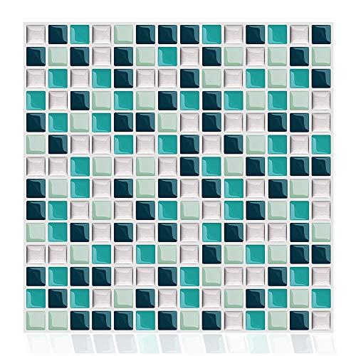 HPTQJ Etiqueta de la baldosa 3D Auto Adhesivo Impermeable Impermeable Cocina para Las Paredes Decoración Azulejos Mosaico Azul 10 Pulgadas (6tiles)