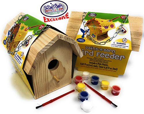 Matty s Toy Stop Paint-A-Barn Wooden Birdhouse & Bird Feeder (Includes Paints & Brushes) Gift Set Bundle - 2 Pack