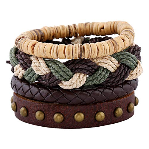 Mens Genuine Leather Bracelet,Mix 4 Soft Wristband,Pendant Brown Braided Rope Chain,Hemp Cords Wood Beads Wristbands Adjustable,Ethnic Tribal Believe Charm (Green-Cotton)