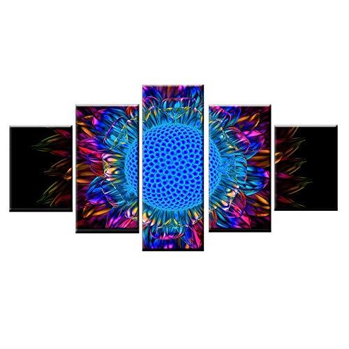 DGGDVP muurkunst foto woonkamer decoratie huis HD kunstdruk canvas 5-delig abstract zonnebloemblaadjes Nordic schilderij poster 40x60cmx2 40x80cmx2 40x100cmx1 Geen frame
