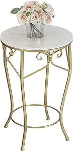 Tavolino da caffè in Marmo/Tavolini/Tavolini Rotondi, Moderno Piccolo Appartamento Creativo, Adatto per Soggiorno/Balcone/Angolo, Nero/Bianco Opzionale (Dimensioni: 40 × 40 × 60 cm)