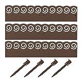 Relaxdays Recinzione da Giardino in Metallo, Recinto Decorativo, Set da 3 Bordure, H x L: 8 x 274,5 cm, Marrone