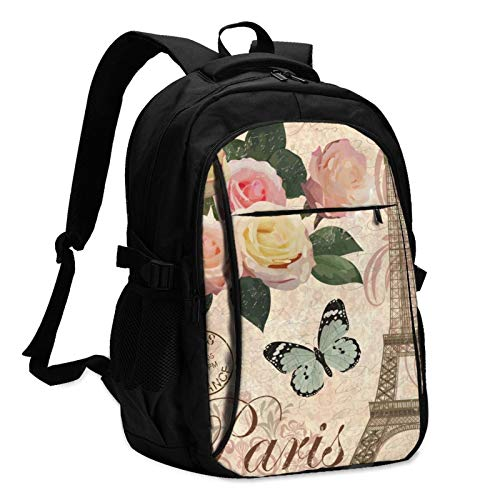 Paris Vintage Postcard Travel Laptop Backpack with USB Charging Port Multifunction Work School Bag