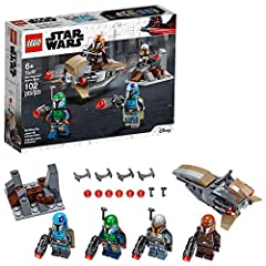 Kids can build a fearsome Mandalorian army, recreate exciting scenes from Star Wars: The Mandalorian TV show,and develop their own exciting stories with this LEGO Star Wars set! Kids will love staging battles with the 4 Star Wars Mandalorian warrior ...