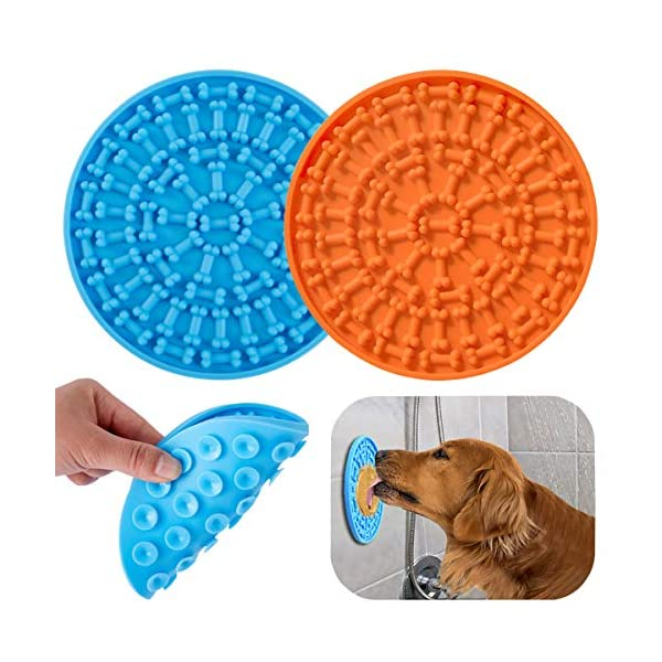 KMNKSCN 2 PCS Dog Lick Mat Slow Feed Treat Mat for Dog Washing Distraction Device Slow Eating Licking The Mat Peanut Butter Pad with Super Suction for Pet Nail Clipping and Dog Training