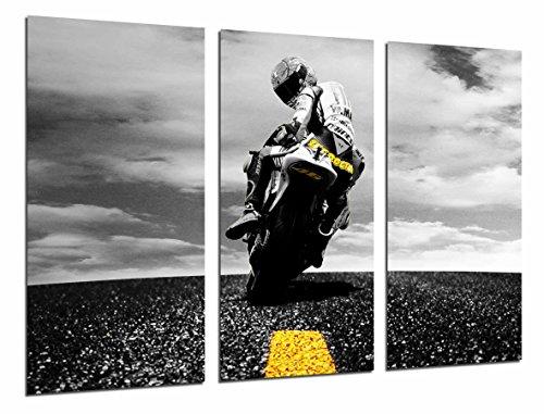 Poster Fotográfico Moto de Carretera, Motorista, Amarillo Tamaño total: 97 x 62 cm XXL