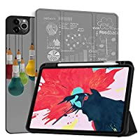 MAITTAO Case For iPad Pro 11 inch 2nd Generation 2020 Release with Apple Pencil Holder, Soft TPU Back Shell Stand Smart Cover For iPad Pro 11 Case Tablet Sleeve 2 in 1 Bundle, Creative Bulb 5