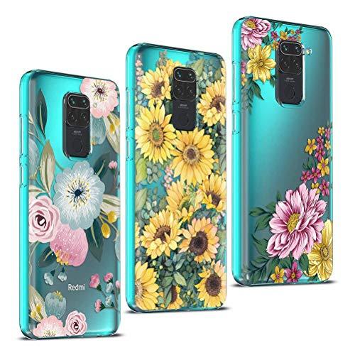 Yoedge Funda para Xiaomi Redmi Note 9 4G [3 Unidades], Silicona Ultra Thin TPU Cubierta Transparente Movil Carcasa Antigolpes Delgado Protector Case, Bonita Diseño,Girasoles de Flores