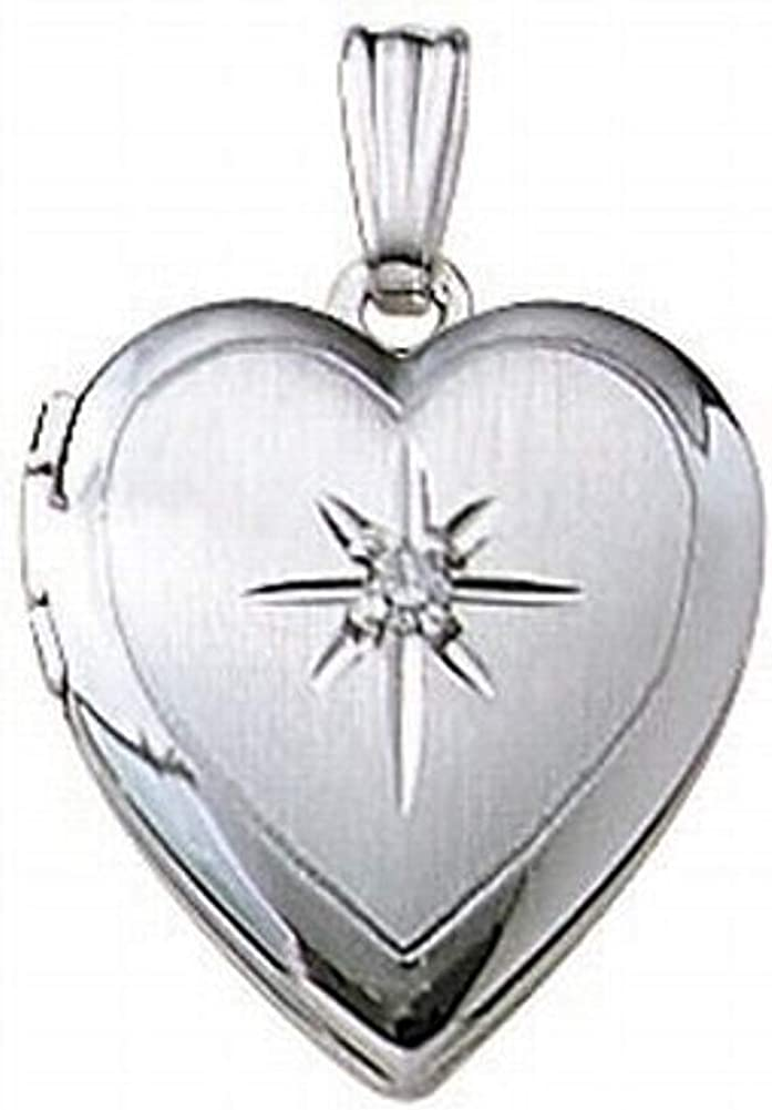 PicturesOnGold.com 14k White Gold and Diamond Heart Locket - 2/3 Inch X 2/3 Inch Solid 14K White Gold with Engraving
