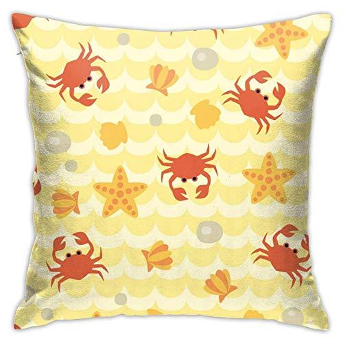 Xiangyang Cojines,Cushion Sofa Funda de Almohada Cuadrada de Patrones sin Fisuras con Lindos cangrejos de Dibujos Animados, Funda de Almohada Decorativa Moderna, 45X45cm