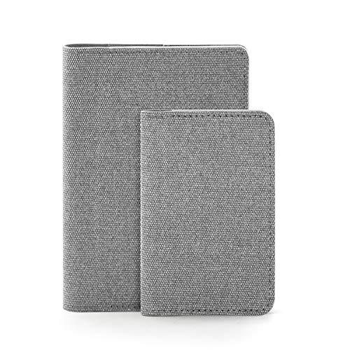 COSMOS MUSE ウォームグリップシリーズ 名刺入れ+パスポートケース セット 薄型 大容量 メンズ レディース (フレンチグレー)