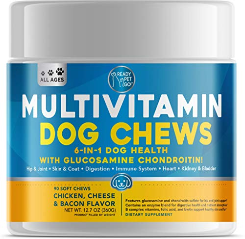 Dog Multivitamin - Glucosamine for Dogs - Probiotics for Dogs -Immune Support for Dogs, Skin and Coat, Hip and Joint Dog Vitamins and Supplements - Vitamins for Dogs - 90 Dog Supplements