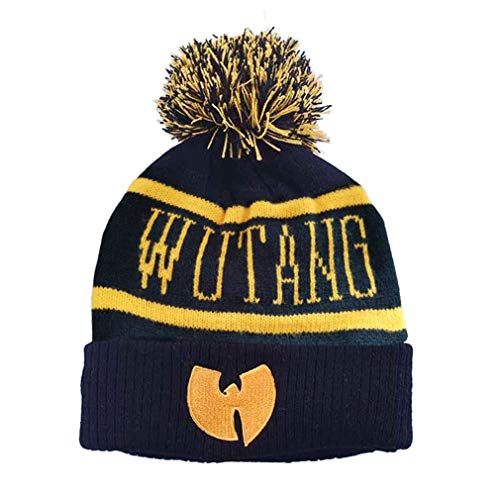 WOJWSKI Beanie Hat for Womens Thick Knitted Hat Men Winter Hats Soft Warm Skull Wu Tang Caps with Pom Pom (Black)