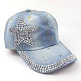 DEORBOB Europeo Americano Verano Popular Denim Snapback Cap Fashion Dot Diamond Hombres Mujeres Sombrero de Vaquero Estrella de Cinco Puntas Gorras de béisbol lavadas para Adultos Sombrer