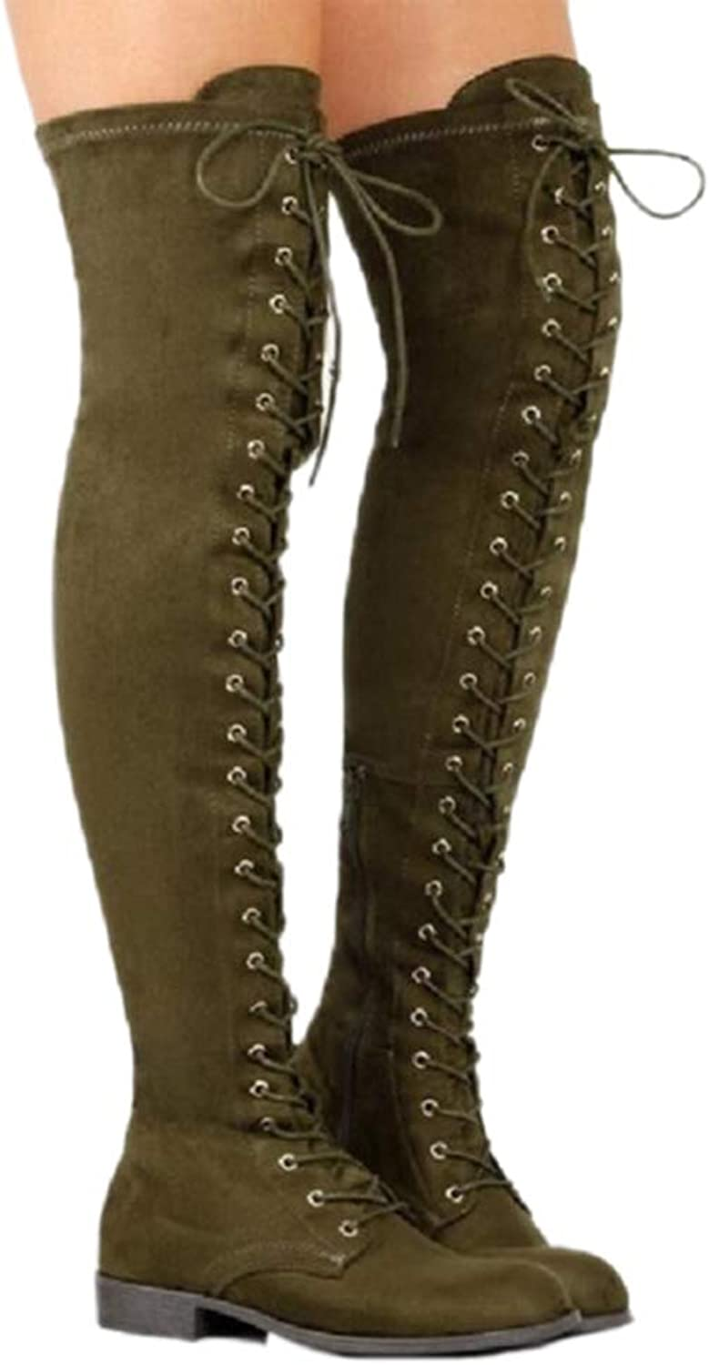 Winter Women Long Boots shoes Sexy Lace Up Over Knee Boots Women with Square Heel Rubber Boots shoes