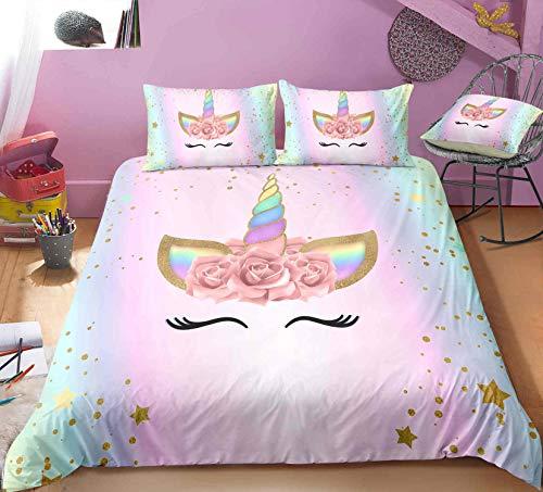 Unicorn Bedding Sets,Rainbow Duvet Cover Full Size,1Duvet Cover,2Pillowcase(No Comforter Inside)