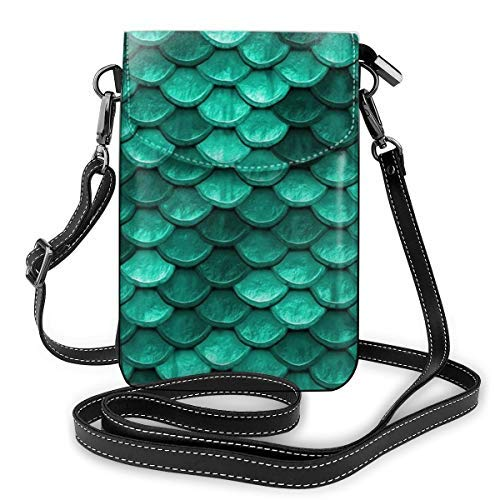 XCNGG bolso del teléfono Small Crossbody Cell Phone Purse Wallet with Credit Card Slots Lightweight Roomy Adjustable Shoulder Strap Emerald Turquoise Green Mermaid Fish Scales Crossbody Bags Handbags