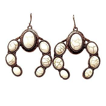 Emulily Western Turquoise Single Squash Blossom Fish Hook Earrings Navajo  White