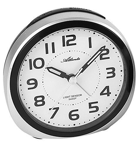 Atlanta wekker met nachtlampje sensor kwarts analoog zilver - 1954-19