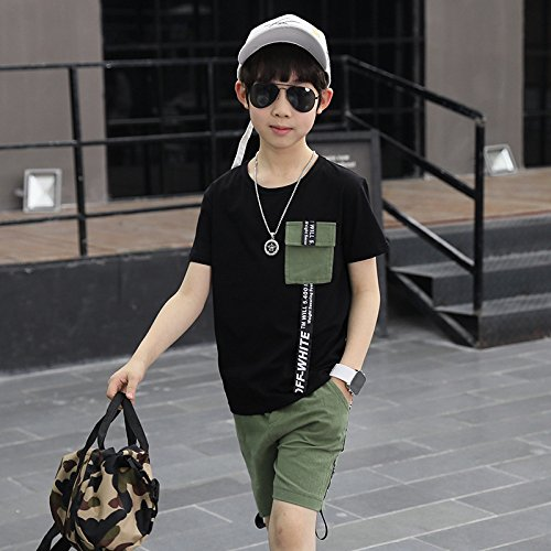 XING GUANG Vêtements pour Enfants Garçon Costume à Manches Courtes Nouveaux Modèles D'été Big Enfants Coréen Lettre Ruban T-Shirt Deux Pièces,Black(135cm)