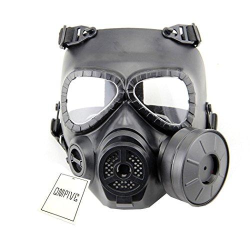 QMFIVE Tattico Maschera Dummy Ciuccio a Gas Anti-M04 Maschera Fog Maschera Antigas con Ventola Turbo Airsoft Paintbal Protezione Gear (Nero)