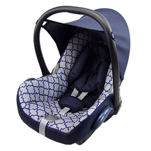BAMBINIWELT Ersatzbezug für Maxi-Cosi CabrioFix 6-tlg, Bezug für Babyschale, Komplett-Set MARINE HELLBLAU KARO XX