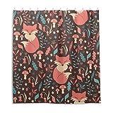 Orediy Wasserdichter Duschvorhang, Blumenmuster, Füchse, 100 prozent Polyester, Anti-Schimmel, Badvorhang mit 12 Haken, für Badezimmer-Dekoration, 168 x 183 cm