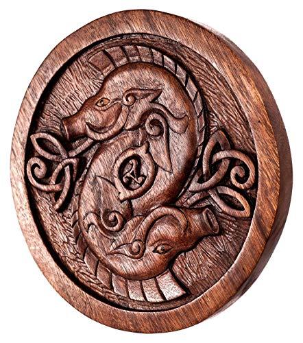 Windalf Irisches Celtic Wandbild Holzrelief GULLINBORSTI Ø 26 cm Freyrs Eber Wandobjekt Pagan Vintage Dekor Handarbeit aus Holz