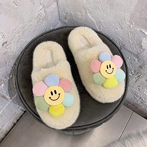 N/A Chanclas con abrebotellas, Pantuflas para Mujer, Zapatos de Piel de Fondo Plano, Zapatos Casuales de otoño e Invierno para Mujer-Beige_35