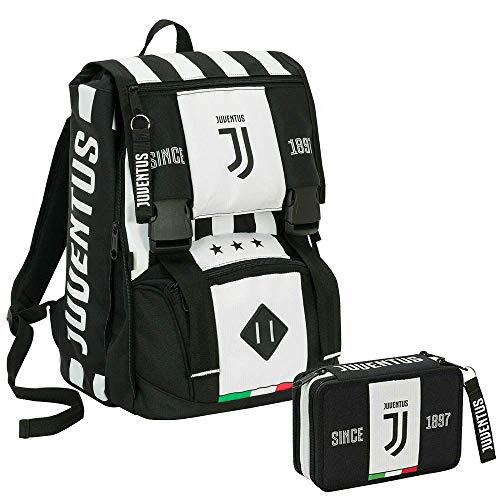 Zaino estensibile JUVENTUS + Astuccio attrezzato - Bianco&Nero - Gadget abbinato - Rete porta pallone!