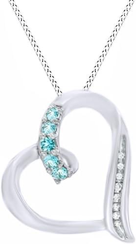 Simuliert Aquamarin & Weißnatürlicher Diamant Accent Looping Herz Anh er in 925 erling Silber (Ring, 18 rat verGoldet Sterling Silber)
