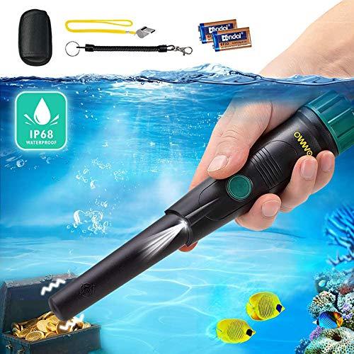 Pinpointer Metalldetektor - OMMO IP68 Wasserdichtes Metalldetektor Pinpoint Vibration Automatisches Tuning mit Gürtelholster, 360 ° Sonde und 2-Pack 9V Batterien für Erwachsene und Kinder Schatzsuche