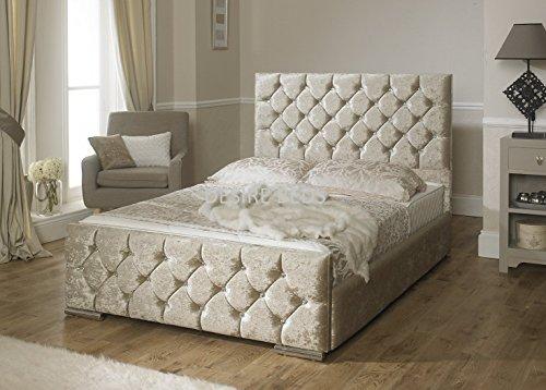 DESIRE BEDS Crushed Velvet Upholstered Bed- 3ft, 4ft, 4ft6, 5ft - Available in 3 stylish colours (CREAM VELVET, 4FT6 DOUBLE)