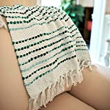 MOTINI Textured Throw Blanket Tassel Striped White and Green Hand Knit Cotton Throw Decorative Blanket Elegant Cozy Fringe Soft Throw for Couch Bed Sofa, 50' x 60'