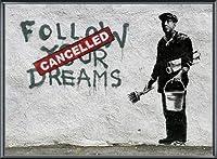 ポスター バンクシー Follow Your Dreams 額装品 アルミ製ベーシックフレーム(ブラック)
