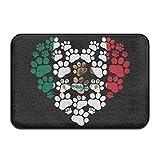 AoLismini rutschfeste Außentürmatte, Dekorative Garten-Schreibtisch-Badezimmertürmatte mit Rutschfester Bodenmatte für Innen & Außen, Mexiko-Flagge, Pfote, Herz,