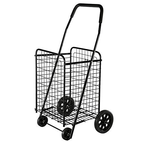 Liuxiaomiao Shopping Trolley 4 Rondes Winkelwagen Grid Trolley Vouwmarkt Wasmachine Draagbare Praktische (zwart) voor Kruidenier Winkelen
