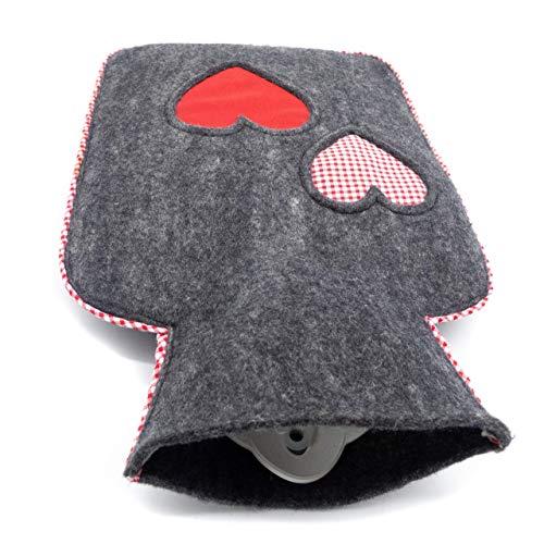 feelz - Wärmflasche gefilzt Herz rot weiß Filz Wolle (Merinowolle) Wärmflaschenbezug - Handarbeit Fairtrade