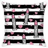 custom made Lápiz Labial Rosa y corazón en Rayas Funda de Almohada Decorativa Funda de cojín de poliéster para el sofá del hogar Dormitorio Silla del Coche Casa Fiesta Interior al Aire libre45X45cm