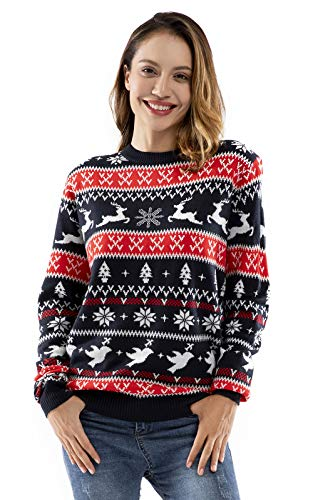 Unisex Women's Ugly Christmas Sweater Knitted Reindeer Classic Fair Isle Ugly Sweater, Small