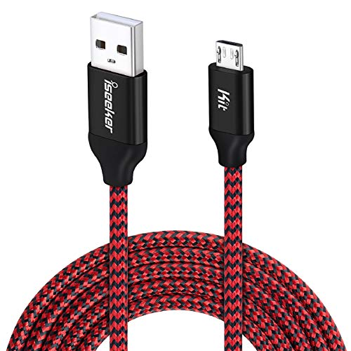 Android Charging Cable, 15ft PS4 Controller Charger Cable, iSeekerKit Durable Micro USB 2.0 Charging Cord Wire Compatible for Samsung Galaxy S7 Edge/S6/Note5,Sony,LG,Moto,HTC,Smartphones (Red)