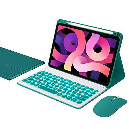 Funda teclado para iPad Air 4ª gen 2020 10,9 pulgadas, diseño estadounidense, funda extraíble para teclado inalámbrico, botones redondos, ratón Bluetooth, verde oscuro, retroiluminación de 7 colores