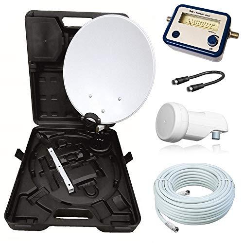 netshop 25 HD Camping Sat Anlage im Koffer 35cm Schüssel mit Opticum Single LNB 0,1dB und 10m Anschlusskabel sowie einem SAT Finder. Einsatz mobil für SD und HD Empfang per Satellit.