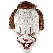 LiuzilaiST Adult Horror Clown Joker Stephen Latex Costume Mask Scary Halloween Cosplay Party Decoration Props White
