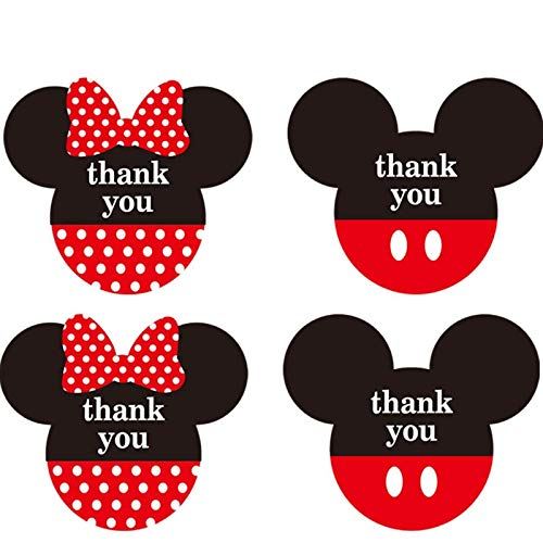 Mickey Minnie Mouse Stickers Thank You Labels 2.38 x 2 inch - Red Mickey Minnie Head Ears Thank You Stickers for Birthday Baby Shower Party Thank You Cards Envelope Seals - 400 Labels