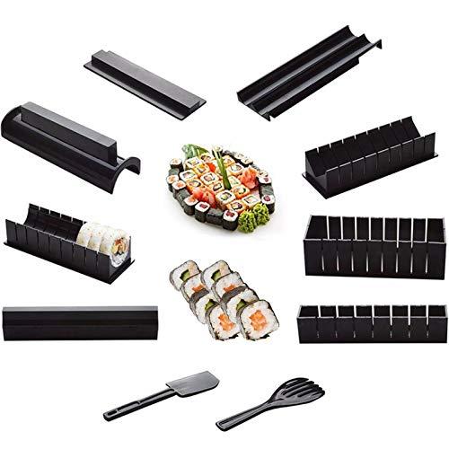 Sushi Prep Kit,Set sushi 10 pezzi,Sushi Set fai da te, Kit per la produzione di sushi per principianti,Cucina in plastica a forma di cuore,Facile e divertente Kit Sushi per la casa per Sushi DIY Anche