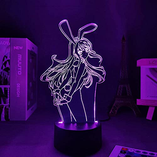 Lámpara de anime Waifu Maj Sakurajima lámpara 3D Sakurajima Bunny Girl regalo para novia decoración del hogar luz de neón niños dormitorio manga
