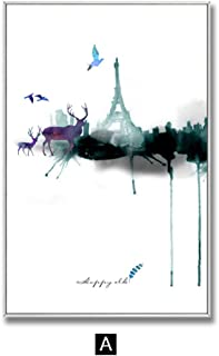 Zutty Decoration Abstract Deer Wall Art Canvas Painting Eiffel Tower Posters and Prints Wall Picture for Living Room Home Decor,13x18cm No Frame,A