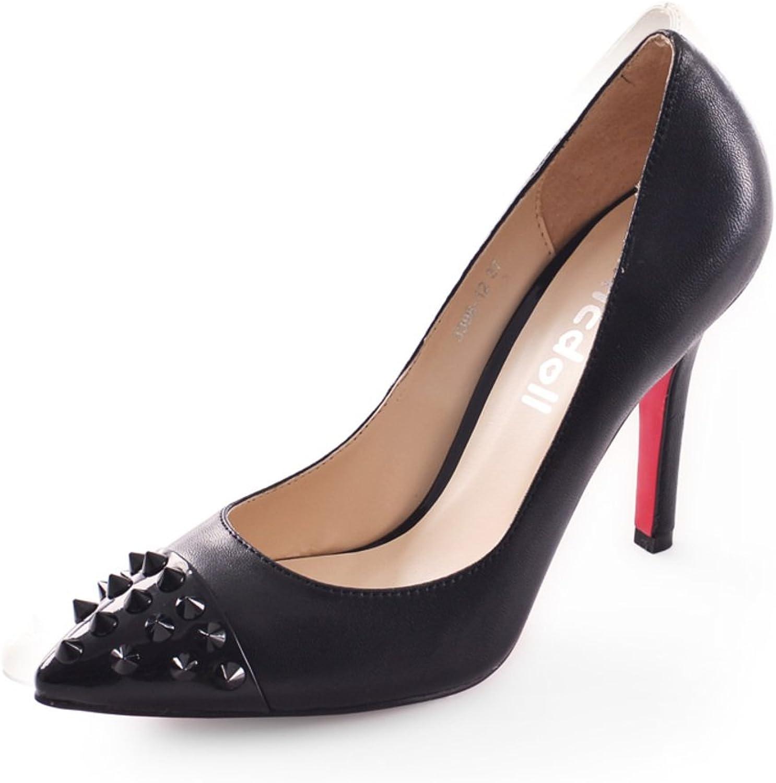 WLJSLLZYQ Frühjahr und Herbst Mode Europa und Spitze Schuhe Einfachen flachen Metall Nieten hohen Stöckelschuhen  | Queensland